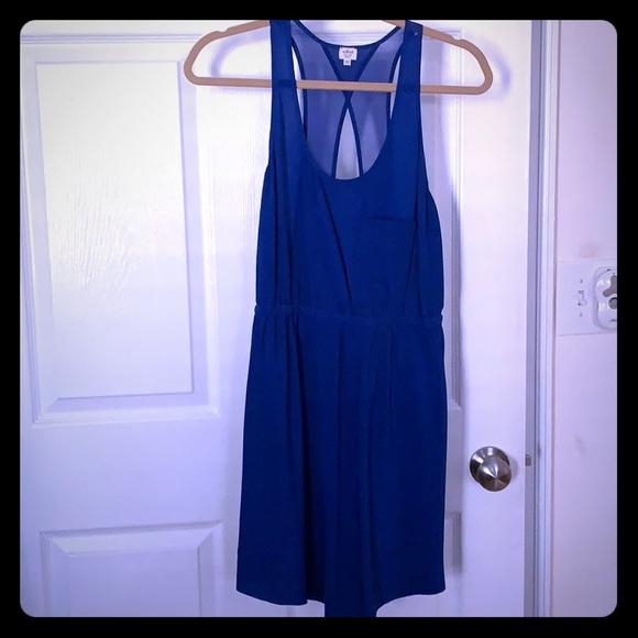 Aritzia Dresses & Skirts - MAKE AN OFFER 💯 silk blue dress w/fun back cutout